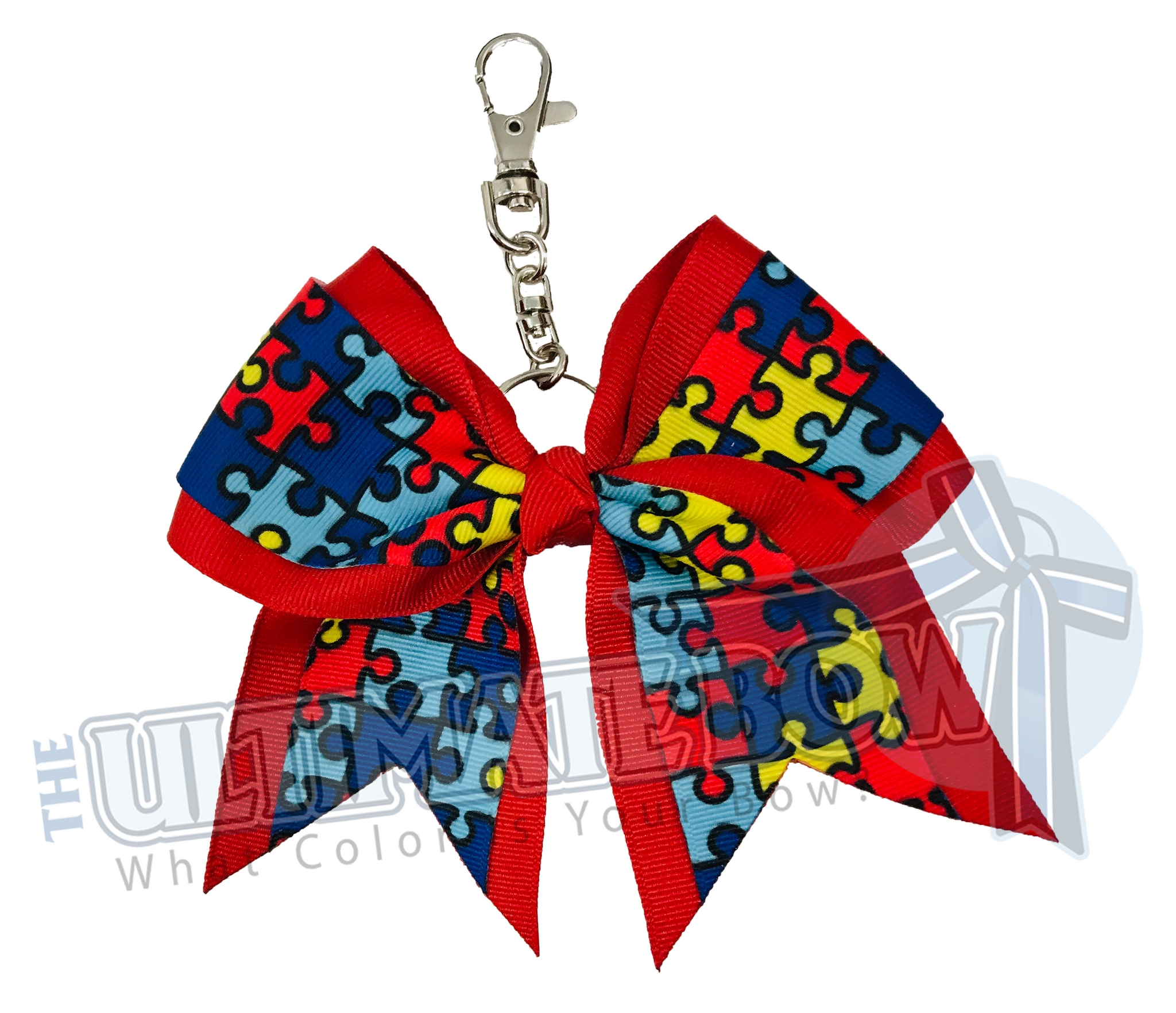 Red mystique Spangle Cheer Bow Key Chain
