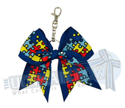 Autism Awareness Puzzle Key Chain Bow | Cheer Keychain Bow