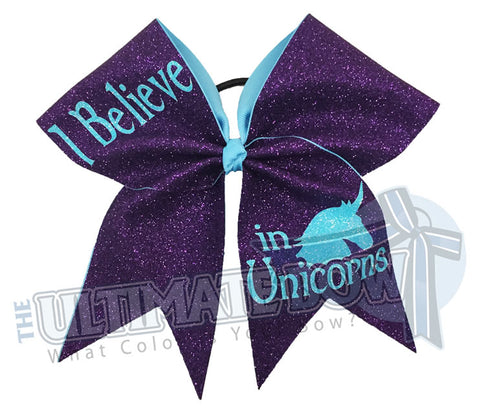 I Believe in Unicorns - Full Glitter Cheer Bow