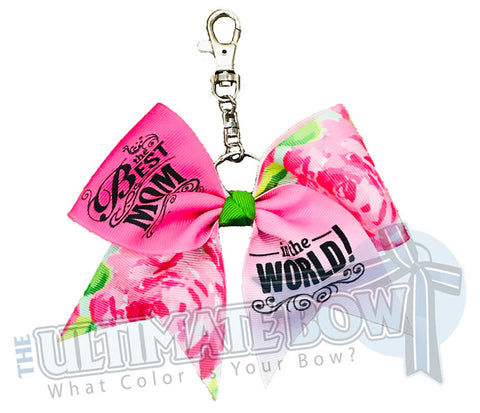 Best Mom In The World Key Chain Bow | Mothers Day Keychain Bow