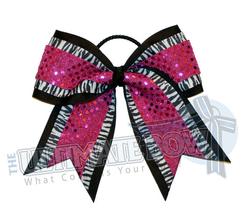big-game-zebra-striped-cheer-bow-black-fuschia-sequin-dots