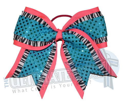 big-game-zebra-striped-cheer-bow-neon-pink-turquoise-sequin-dots