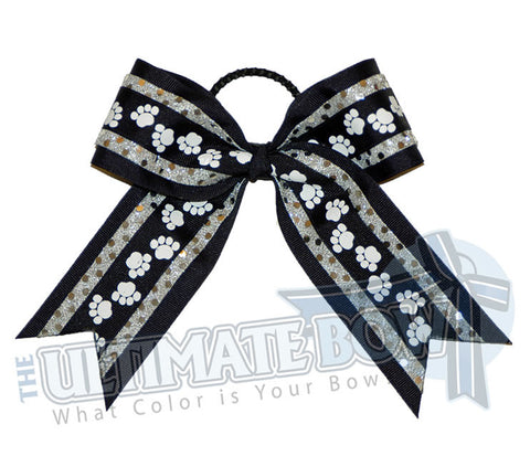 big-paws-cheer-bow-silver-black-pawprint