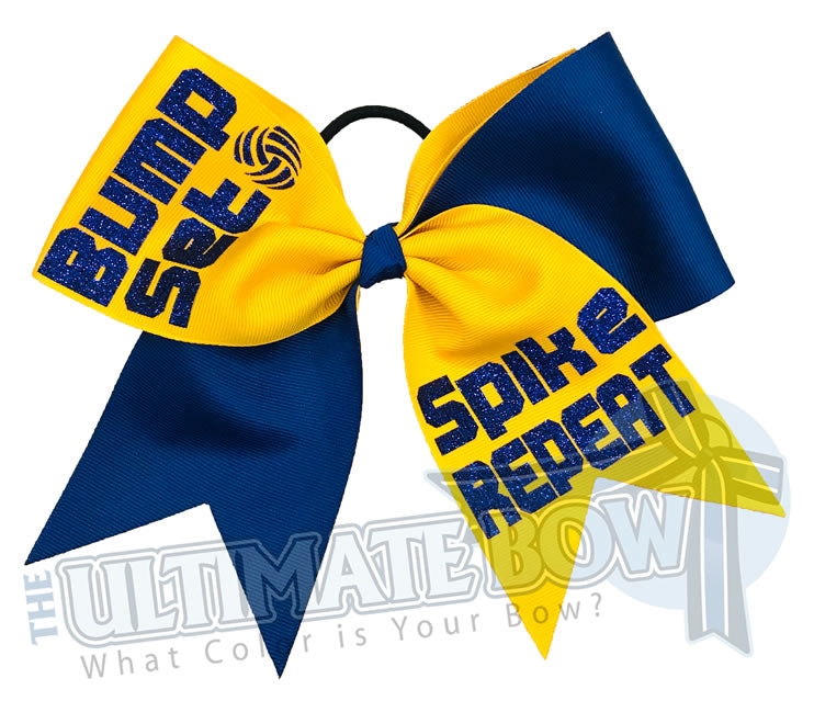 Bump Set Spike Repeat | Volleyball Hair Bow | Volleyball Themed bow | Royal Blue | Yellow Gold