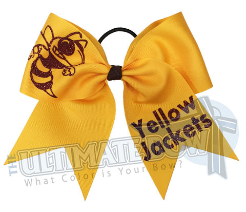 Superior-texas-sized-glitter-Wasp-hornet-yellow jacket-buzzing Bee-cheer-softball-bow-orange-black-tigers