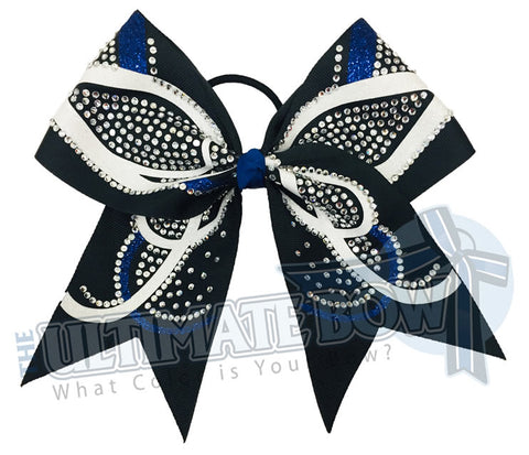 rhinestone-butterfly-effect-glitter-royal-black-White-cheer-bow - cheerleading hair bow