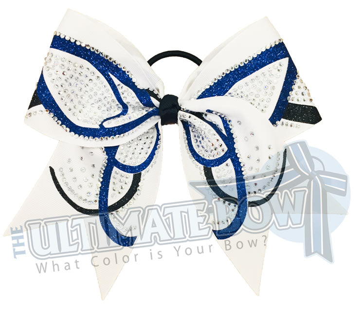 rhinestone-butterfly-effect-glitter-royal-white-black-cheer-bow - cheerleading hair bow
