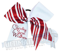 Candy Cane Wishes Cheer Bow | Christmas Cheer Bow | Holiday Glitter Cheer Bow | Red and White Holiday Hair Bow
