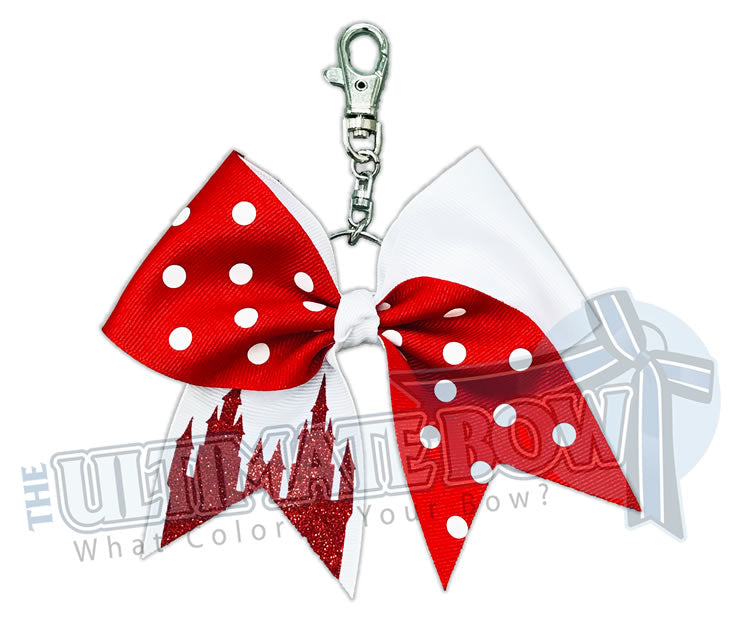 princess castle | red with white polka dots - Minnie Mouse Polka Dots Disney-key-chain-bow-key chain