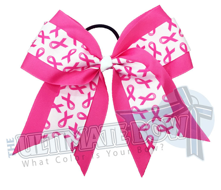 Cheer-for-survivors-breast-cancer-awareness-cheer-bow - Pink Ribbon Cheer Bow - Breast Cancer cheer bow - Pink Hair Bow - Softball Breast Cancer Awareness Bow