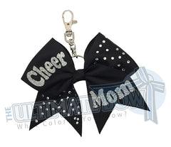 Rhinestones Cheer Mom-black-ribbon-keychain-key-chain-bow-purse-bling