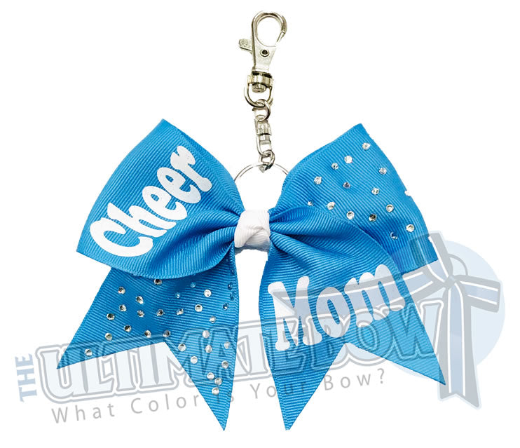 Rhinestones Cheer Mom Key Chain Bow | Columbia Blue ribbon | Purse Bow | Backpack Accessory | Cheer Mom Rhinestone Key Chain Bow
