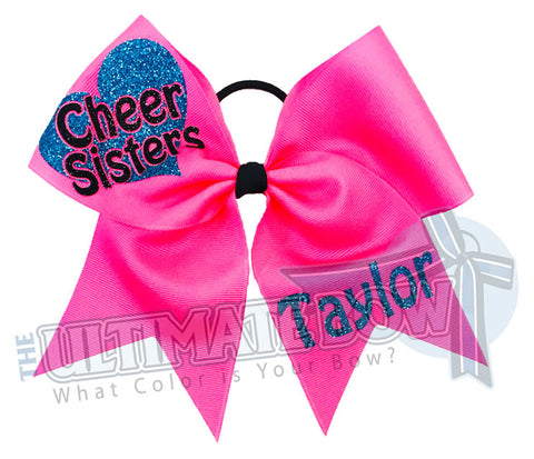 Cheer Sisters Cheer Bows | Matching Cheer Bows | Sister Hair Bows | Personalized Cheer Bows | Neon Pink Cheer Bows