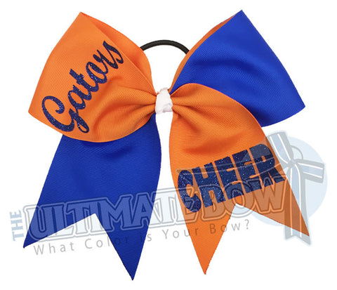 Superior-Cheer-team-gators-orange-blue-glitter-personalized-cheer-bow-bow-practice-bow