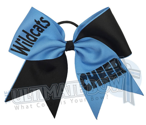 Superior-Cheer-team-wildcats-black-columbia-blue-glitter-personalized-cheer-bow-bow-practice-bow