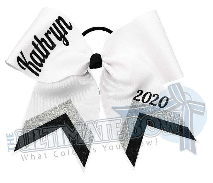 Chevron Cheer Bow | Personalized Cheer Bow | Class Year Cheer Bow | -silver-black-white-cheer-bow-glitter-varsity-cheer-softball-school-recreational-cheer