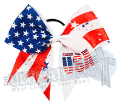 Cheer foe the USA Cheer Bow-patriotic | Sublimated Cheer Bow | cheer-bow-stars-stripes-red-white-blue-july-4-all american