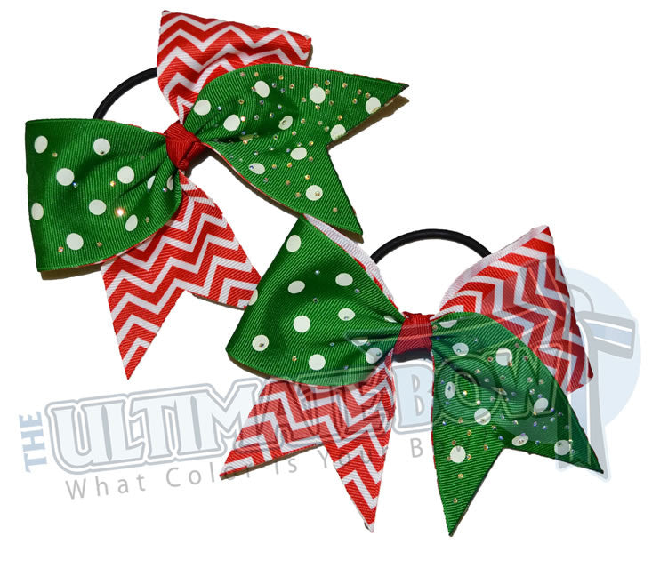Christmas-elf-polka-dot-chevron-rhinestone-pig-tails-little-bows-holiday