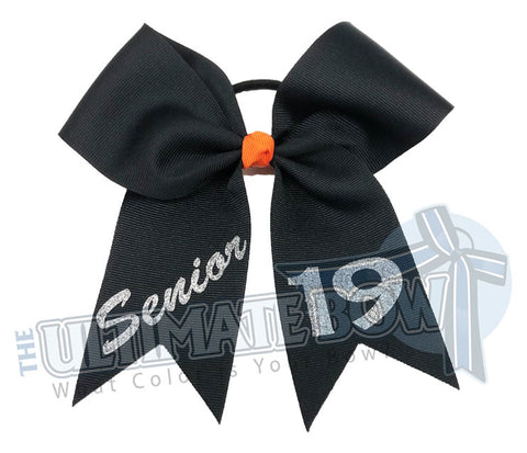 class-act-cheer-bow-senior-19-black silver orange - Class of 2019 - Senior Year - Senior Cheer Bow
