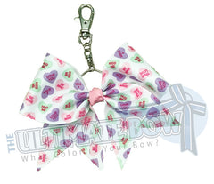 Conversation Hearts Key Chain Bow - Key-chain Bow - Cheer Key Chain Bow - Valentine's Day Key Chain - Love Key Chain
