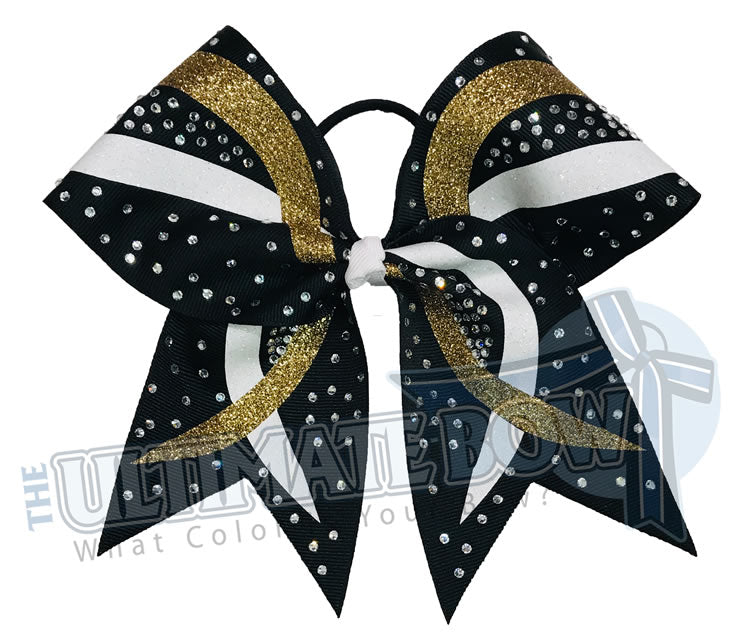 Criss Cross Cheer Bow | Black Gold White Glitter and Rhinestone Cheer Bow | Competition Cheer Bow | Rhinestones and Glitter  Cheer Bow