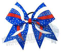 rhinestone-criss cross - x pattern -effect-glitter-red-white-electric-blue-cheer-bow