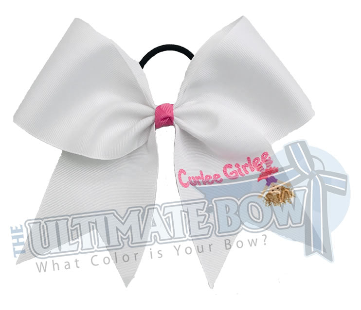 Curlee Girlee White Logo Bow