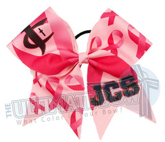 Breast Cancer Awareness sublimated logo cheer bow | personalized cheer bow | custom logo | white logo cheer bow | softball | Pink hair bow | Custom Ink