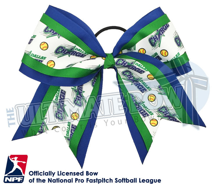 Dallas Charge-Hair-bow-softball-licensed-triple-play-official-logo-professional-softball-NPF-National_Pro_Fastpitch-Softball-League