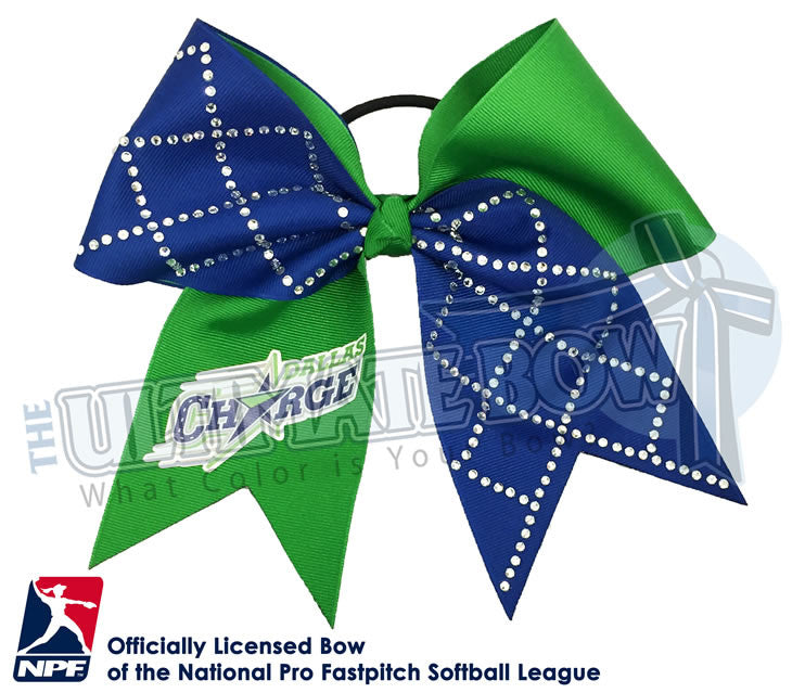Dallas-Charge-Hair-bow-softball-licensed-turn-two-official-logo-professional-softball-NPF-National_Pro_Fastpitch-Softball-League-rhinestone