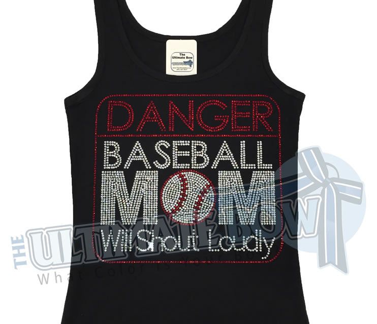 Danger-baseball-mom-rhinestone-tank-top-black-red