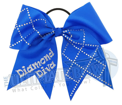 Diamond Diva Cheer Bow | Softball Bow | Rhinestone Bows