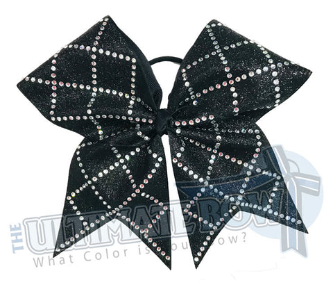 Diamonds are Forever Cheer Bow | Rhinestone and Glitter Cheer Bow | Black Competition Cheer Bow