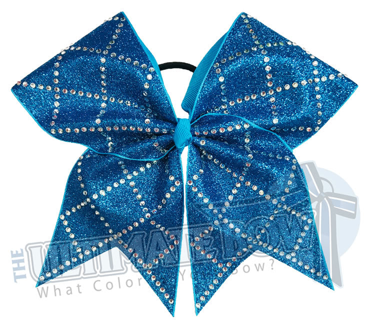 Diamonds are Forever Cheer Bow | Rhinestone and Glitter Cheer Bow | Turquoise Competition Cheer Bow