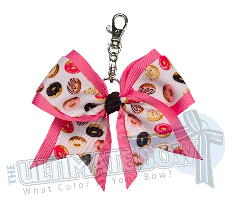 Donut Worry Be Happy Key Chain Bow | Doughnut Key Chain | Donut Lover Key Chain Bow | Keychain Bows
