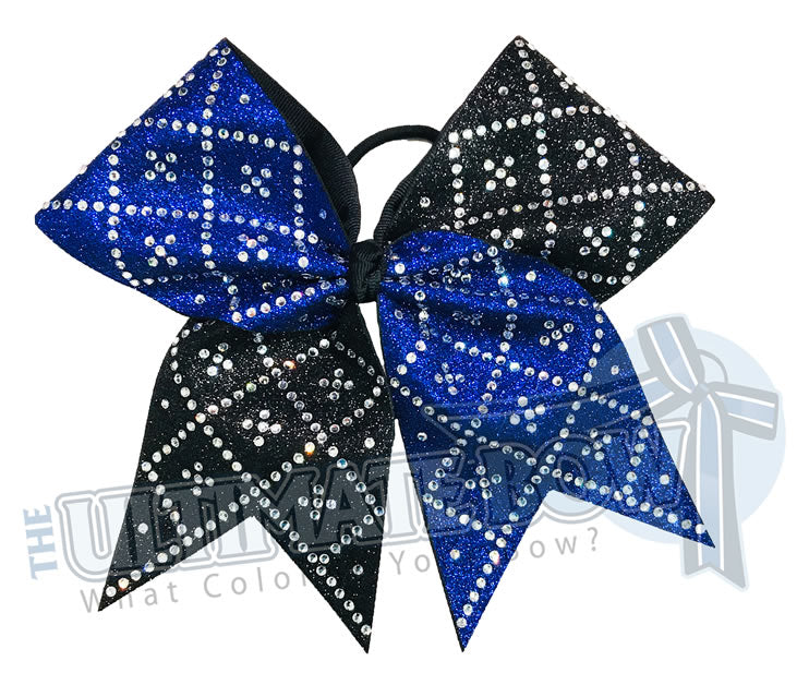 Double Diamond Deluxe Glitter Rhinestone Cheer Bow | Royal Blue and Black Full Glitter | Diamond Rhinestones | Competition Cheer Bow |