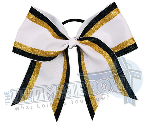 Double edge glitter stripes black glitter | gold glitter white-cheer-bow-glitter-varsity-cheer-softball-school-recreational-cheer