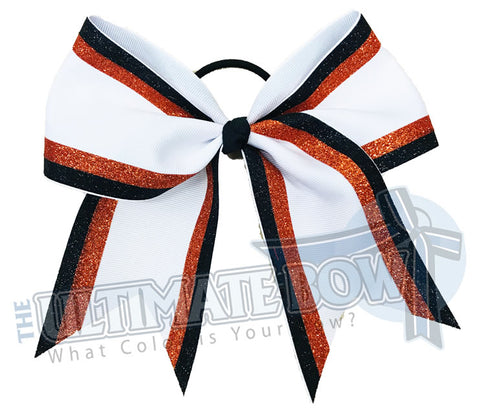 Double edge glitter stripes orange glitter | black glitter orange glitter white-cheer-bow-glitter-varsity-cheer-softball-school-recreational-cheer