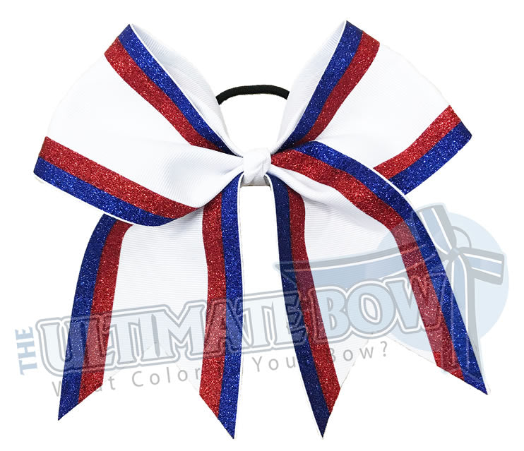 Double edge glitter stripes red glitter | royal blue glitter red glitter white-cheer-bow-glitter-varsity-cheer-softball-school-recreational-cheer
