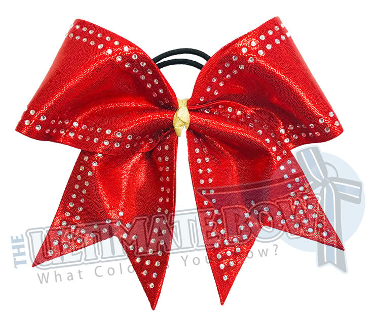 Red Competition Cheer Bows | Double-Edged Rhinestone Cheer Bow | Mystic Cheer Bow | Bling Bows | Clean Sharp Lines