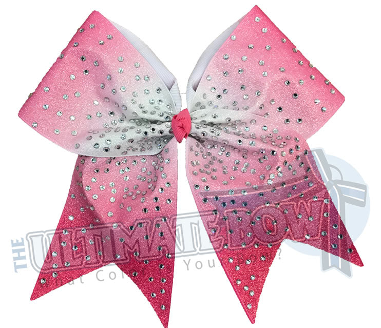 Hot Pink Ombre Glitter rhinestone Cheer Bow | Sublimated Cheer Bow | crystal clear rhinestones | cheer-bow-full-glitter-cheerleader hair bow