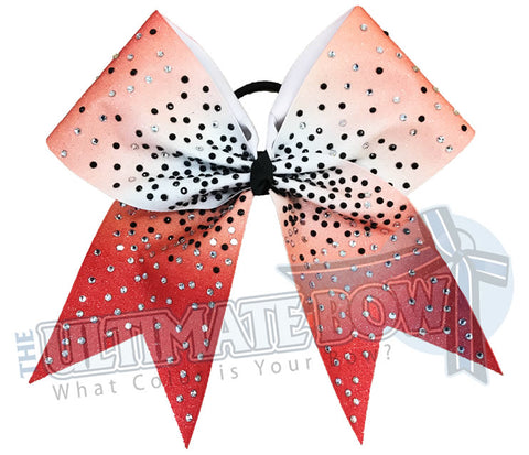 Red Ombre Glitter rhinestone Cheer Bow | Sublimated Cheer Bow | crystal clear rhinestones | jet black rhinestones | cheer-bow-full-glitter-cheerleader hair bow