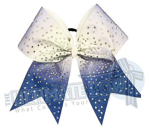 Royal Blue Ombre Glitter rhinestone Cheer Bow | Sublimated Cheer Bow | crystal clear rhinestones | cheer-bow-full-glitter-cheerleader hair bow