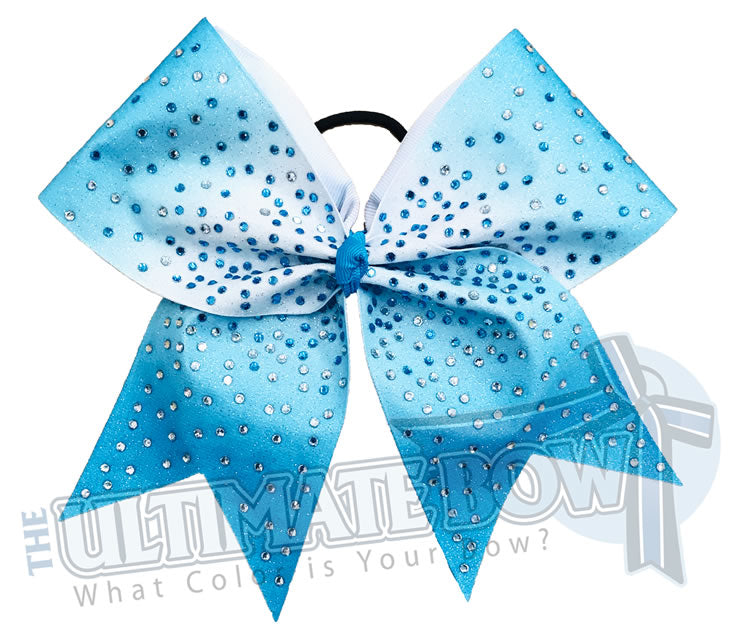 Turquoise Ombre Glitter rhinestone Cheer Bow | Sublimated Cheer Bow | crystal clear rhinestones | full glitter sublimated cheerleader hair bow