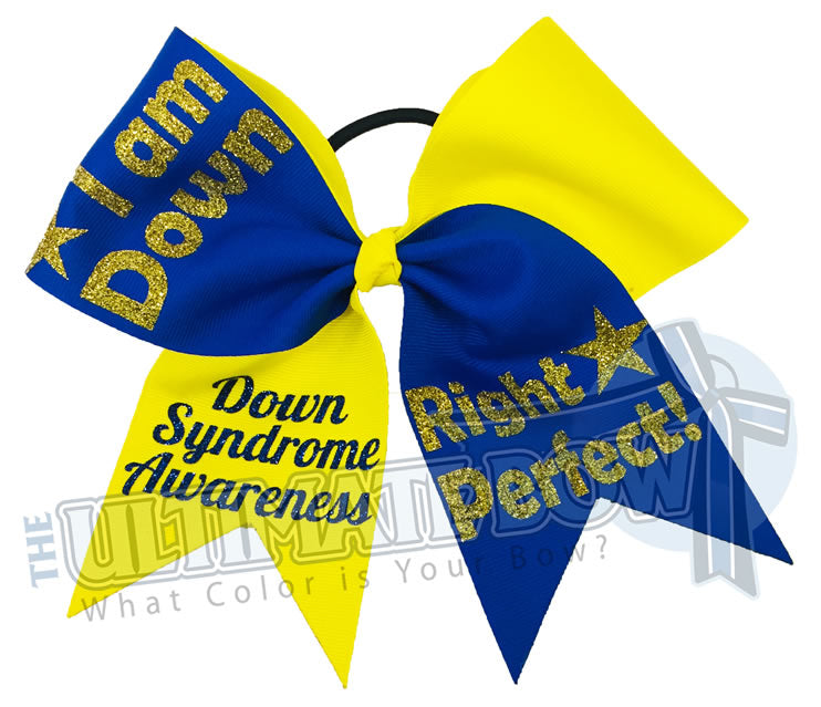 I Am Down Right Perfect - Down Syndrome awareness cheer bow - I wear Blue and Yellow for Down Syndrome - social awareness cheer bows - Special Needs Cheerleading