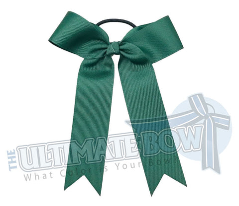 College Cheer Bows | Collegiate Cheer Bows | Plain Ribbon Cheer Bows | Forest Green Cheer Bows