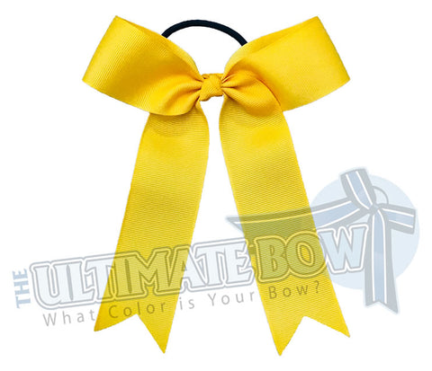 College Cheer Bows | Collegiate Cheer Bows | Plain Ribbon Cheer Bows | Yellow Gold Cheer Bows
