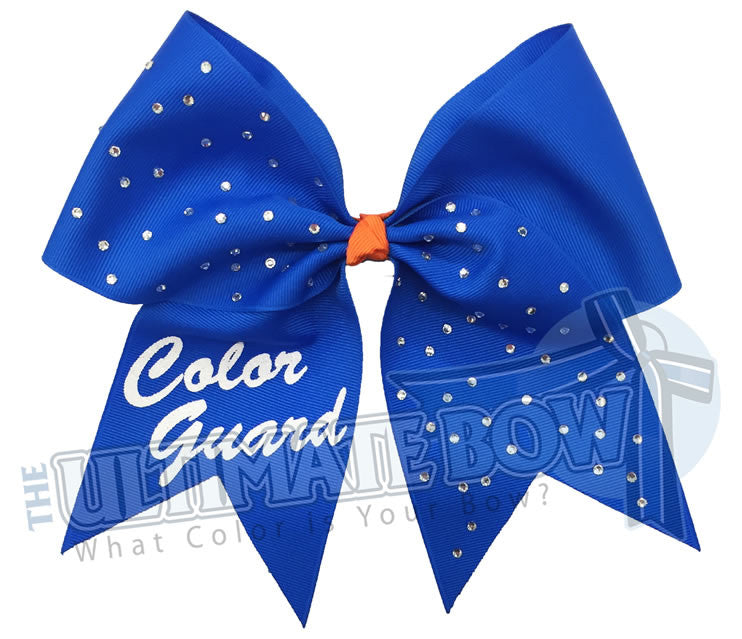 personalized-rhinestone-cheer-bow-exclusively-mine-bow-color-guard-bow-electric-blue-orange
