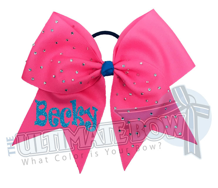 personalized-rhinestone-cheer-bow-exclusively-mine-bow-neon-pink-neon-blue-glitter