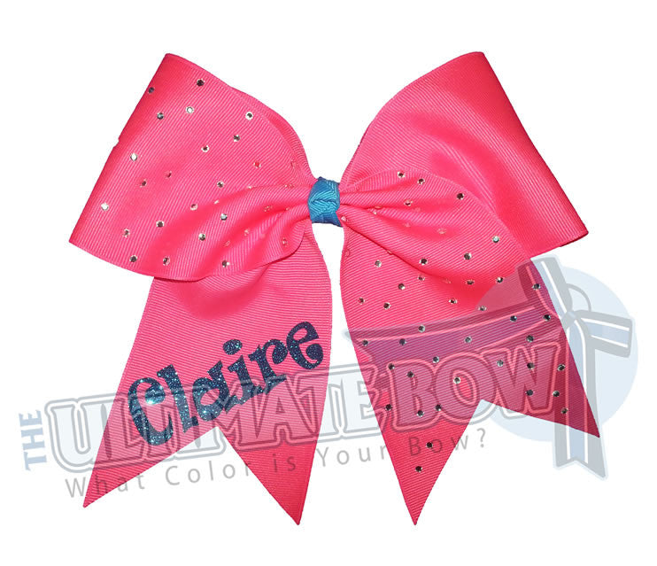 personalized-rhinestone-cheer-bow-exclusively-mine-bow-neon-pink-turquoise-glitter